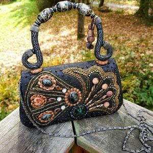 EVENING BAG💛 SILK VINTAGE GORGEOUS GEM & BEADED